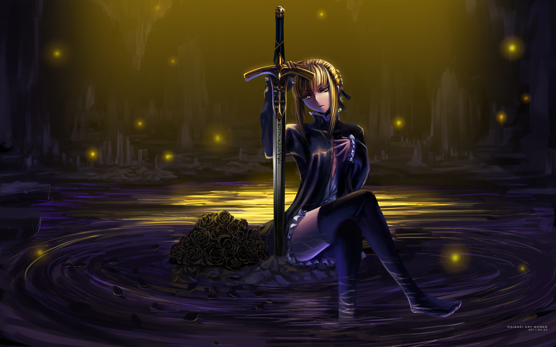 fate stay night flowers maisaki rose saber saber alter sword weapon