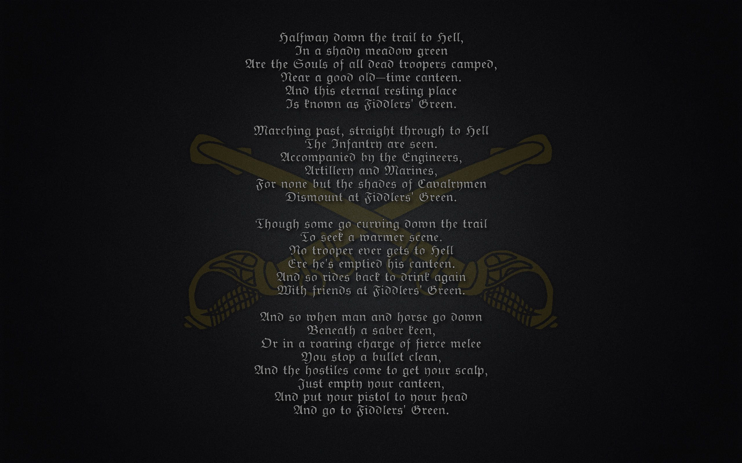 Fiddler's Green Poem military warriors soldier marines