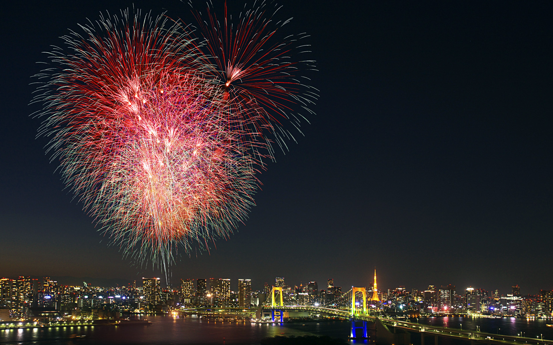 Fireworks Tokyo Japan cities hdr night