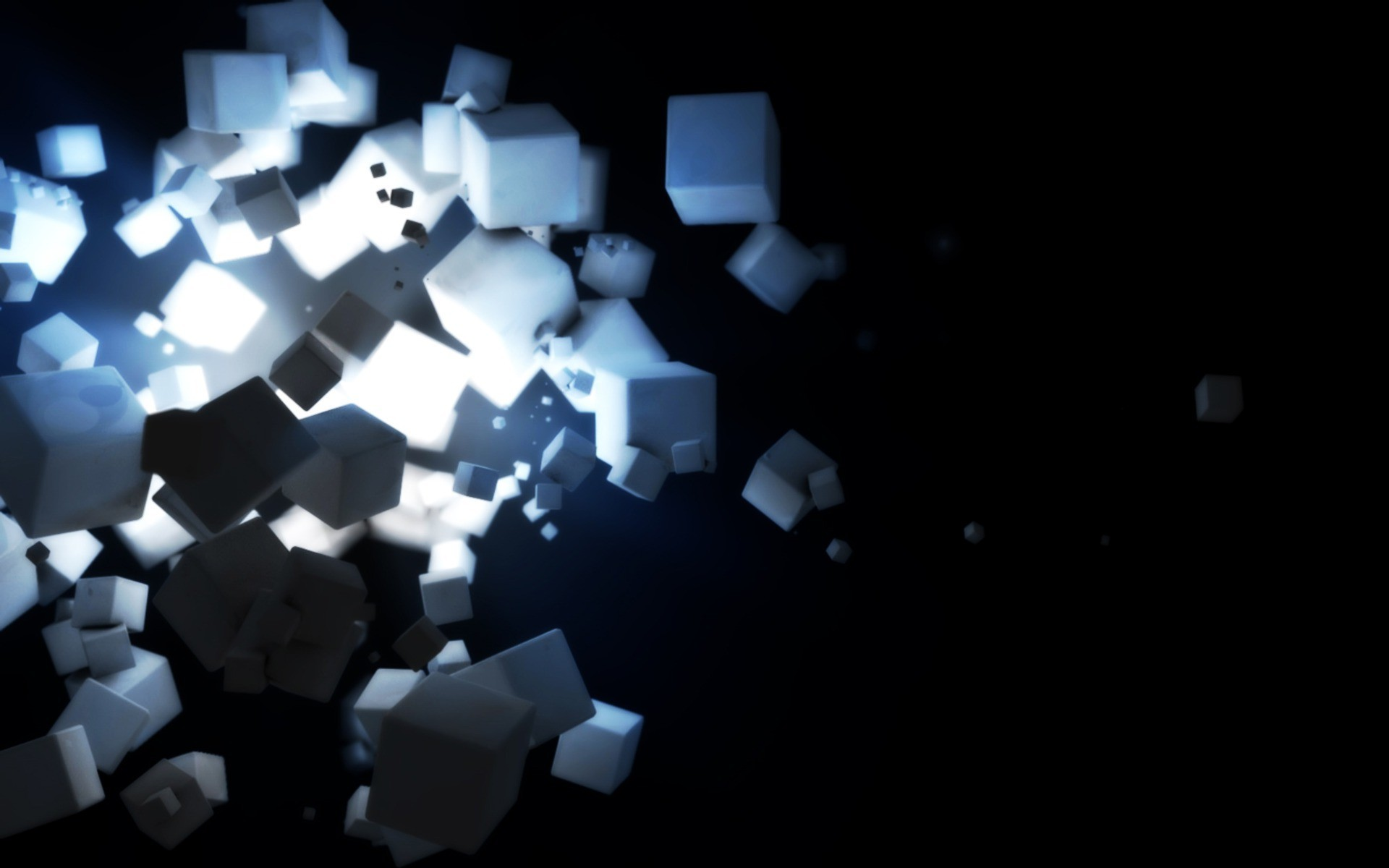 Floating white cubes