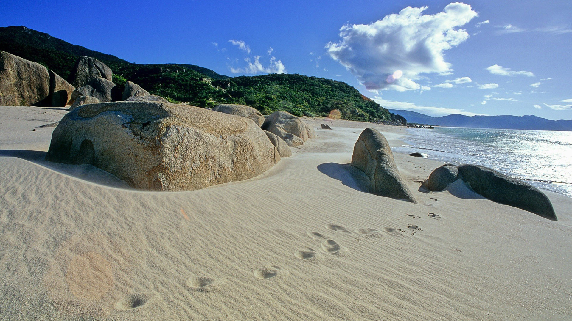 Footprints in the sand in Sanya, China