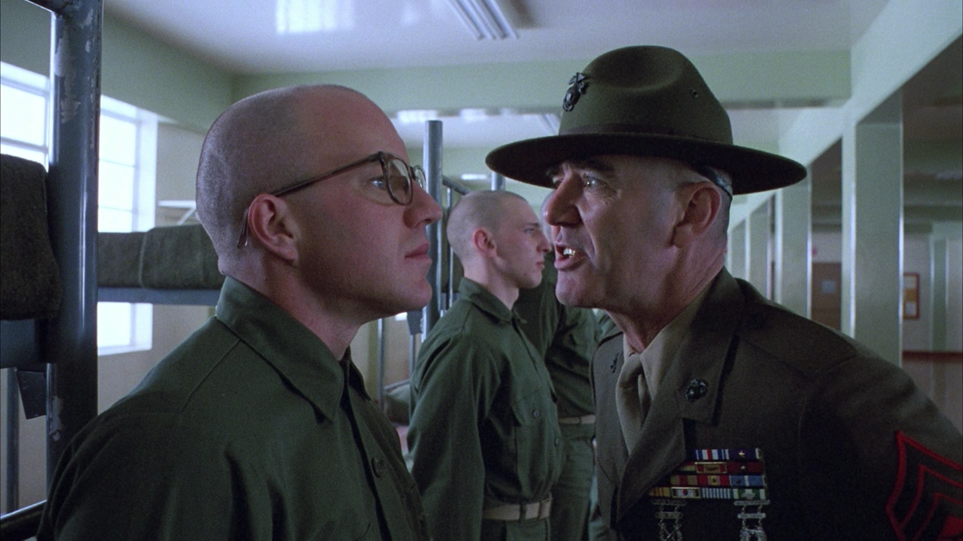 full metal jacket entertainment movies military soldiers actors drill uniform glasses mood emotion scared angry scream