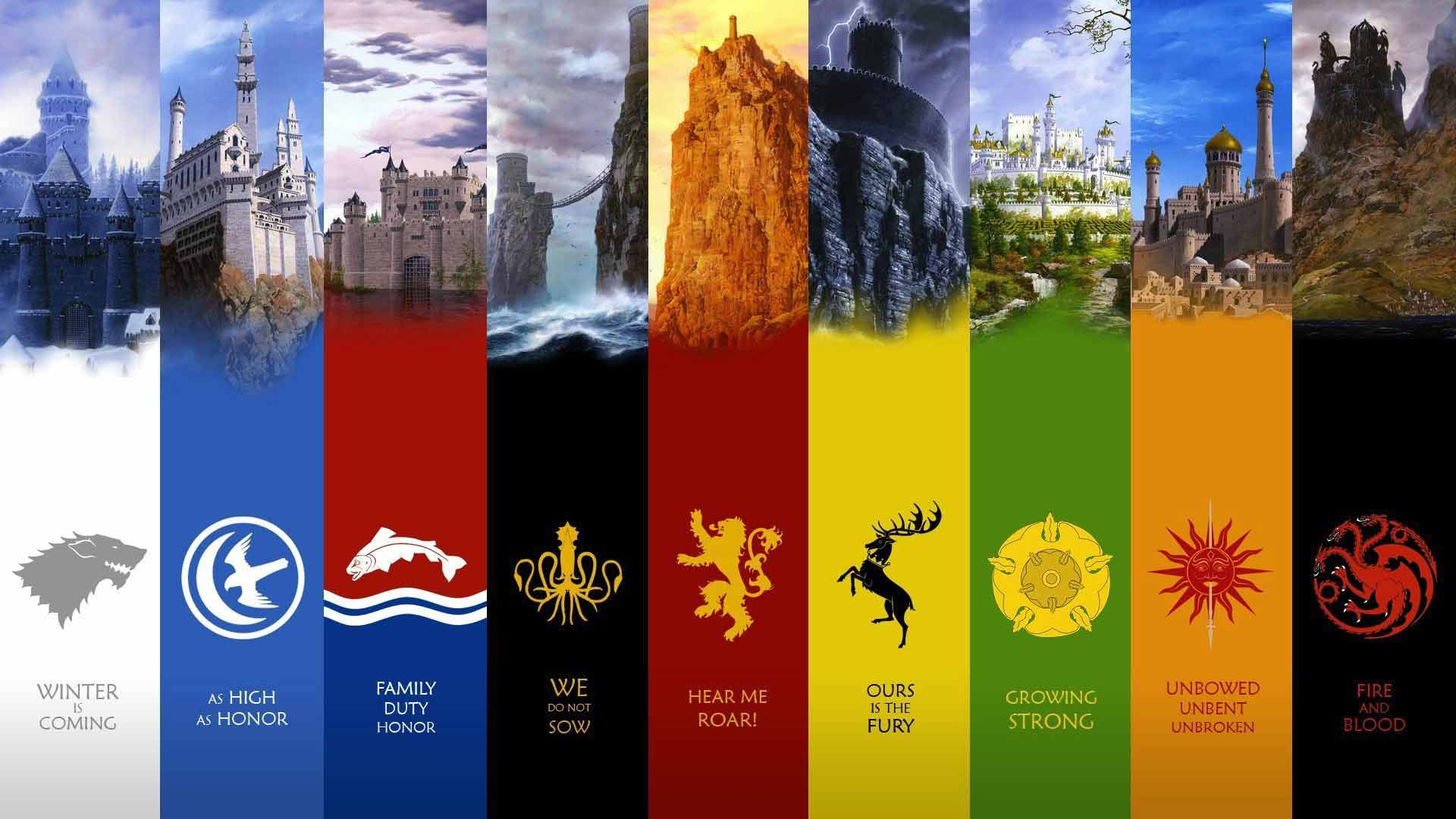 Game of Thrones house crests