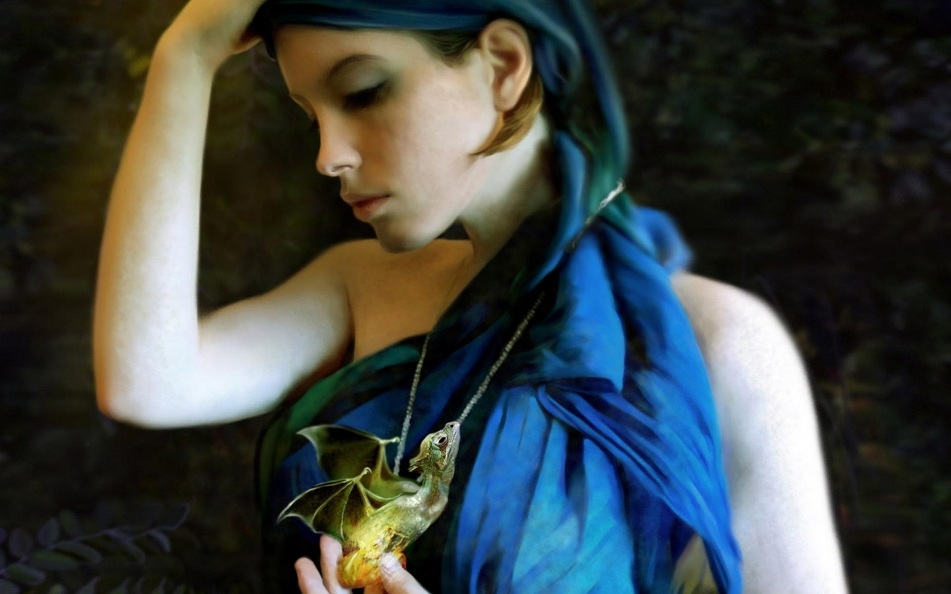Girl with a dragon necklace