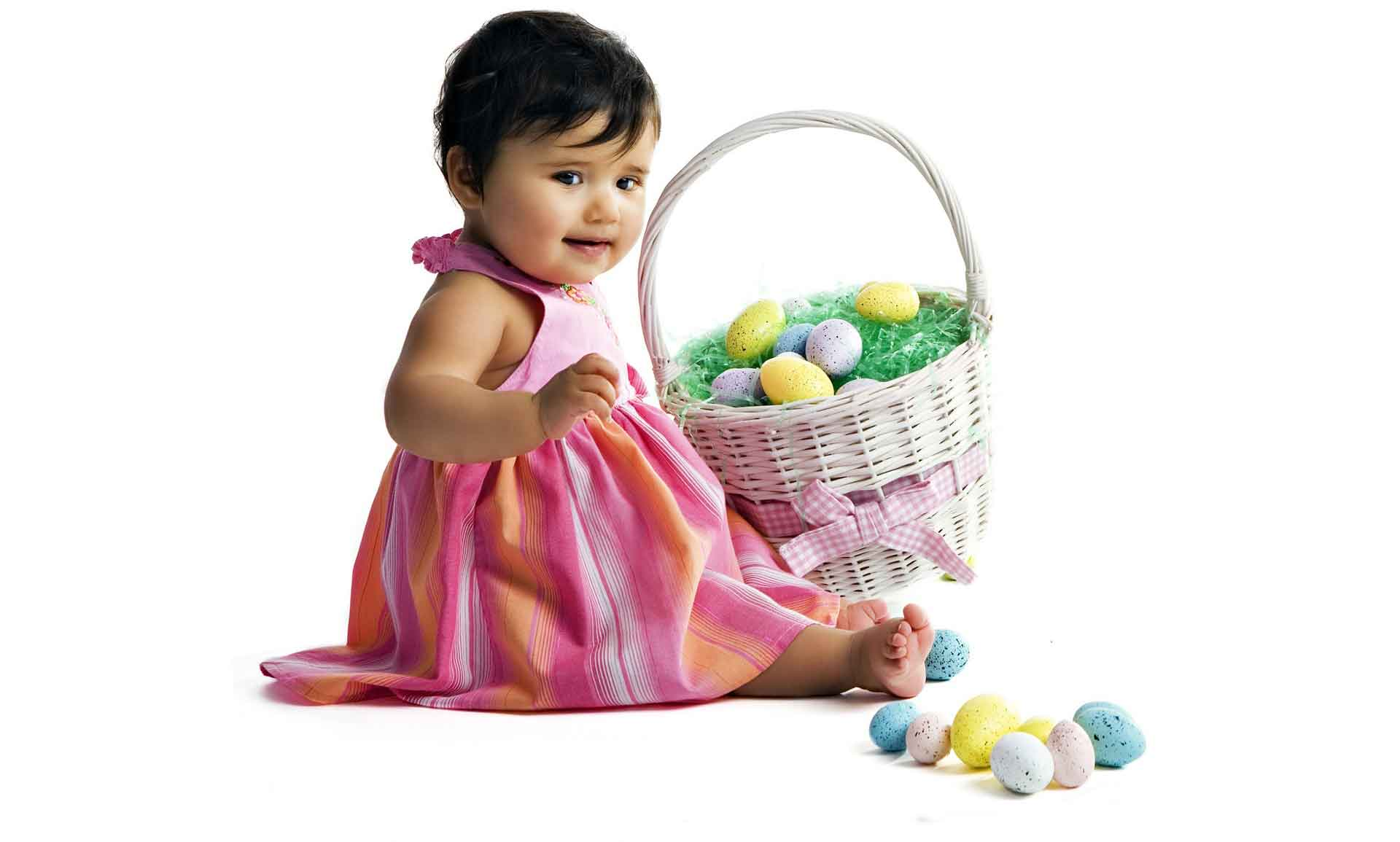 Girls with Easter baskets