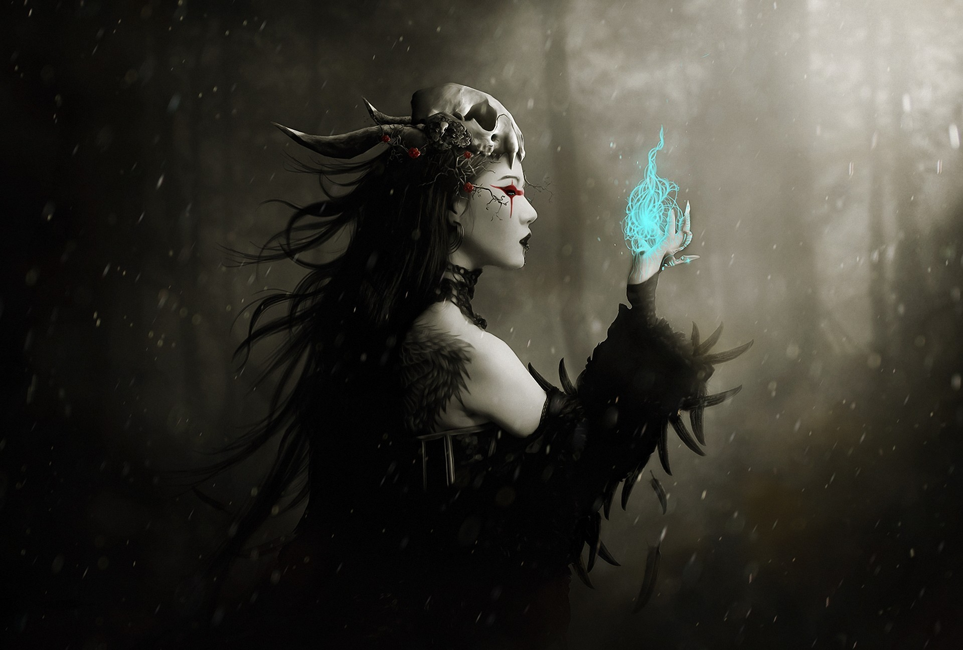 gothic dark fantasy art witch magic spell occult skull women females mood winter snow flakes drops trees forest woods spooky scary evil