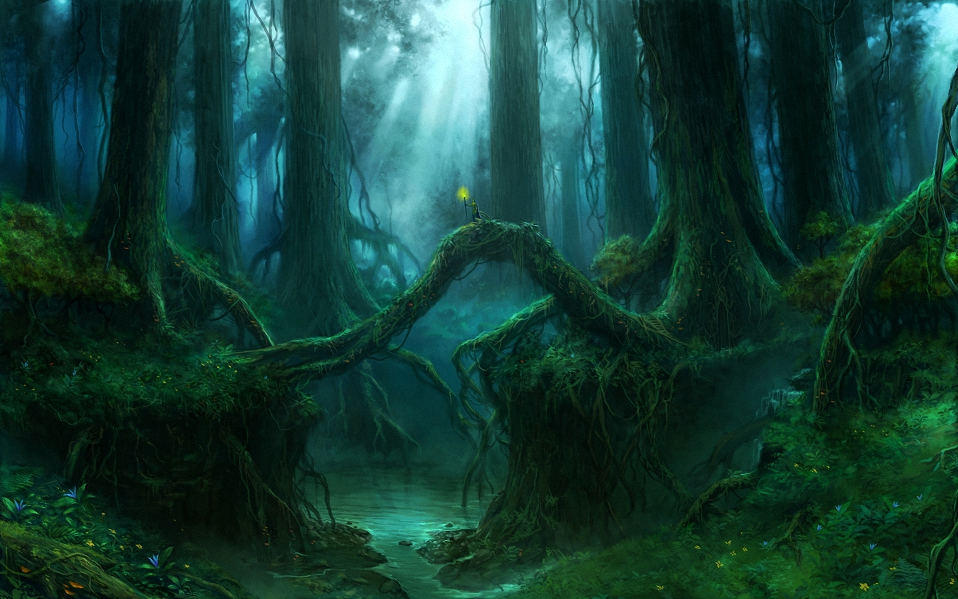 Gothic Forest Trees Fantasy river mood