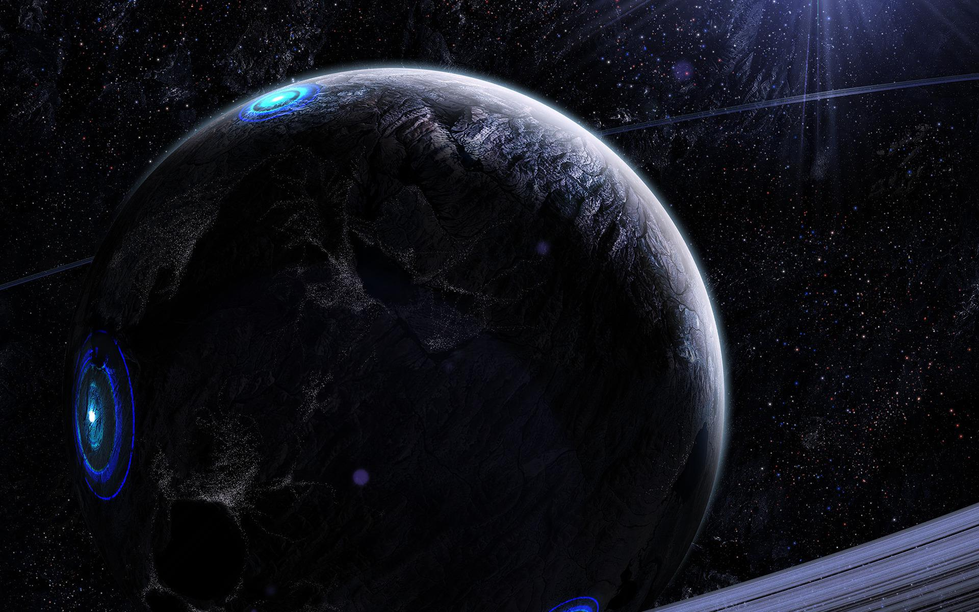 Gray and blue planet