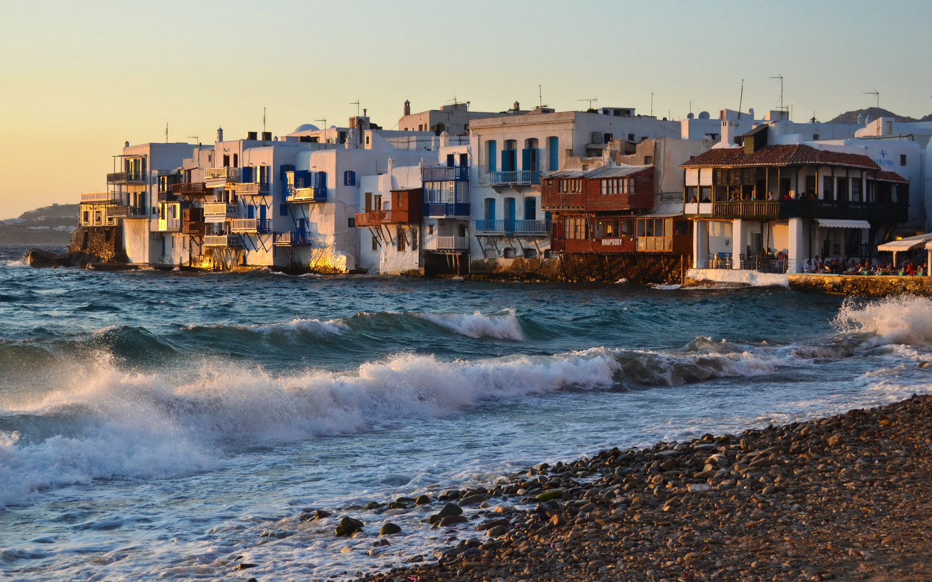 Greece Mykonos buildings resort villa houses tropical nature beaches waves ocean sea