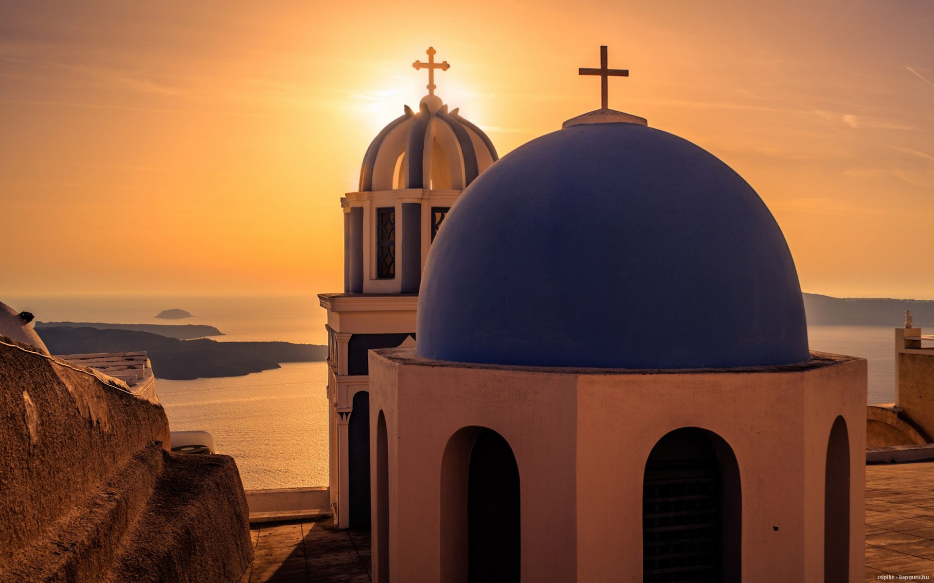 Greece Sunset summer Santorini church sea