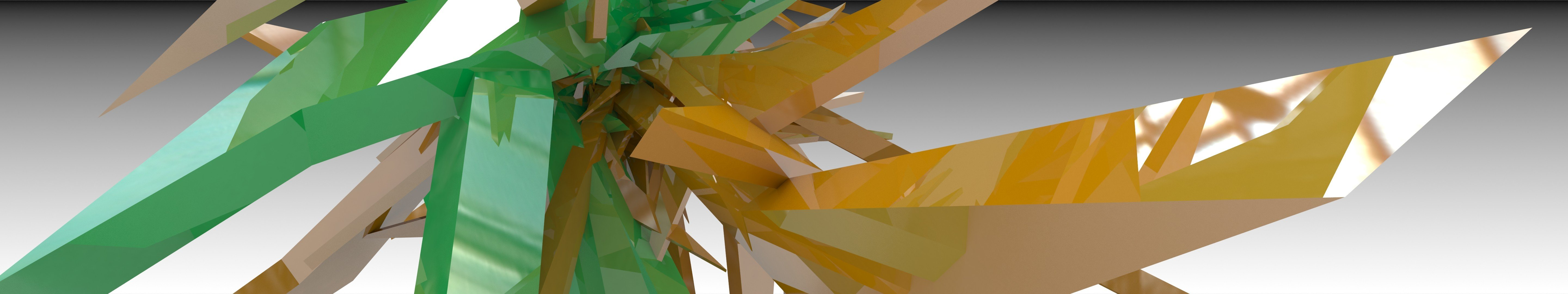 green abstract orange spikes 3D renders 3D art 3DS Max  vray