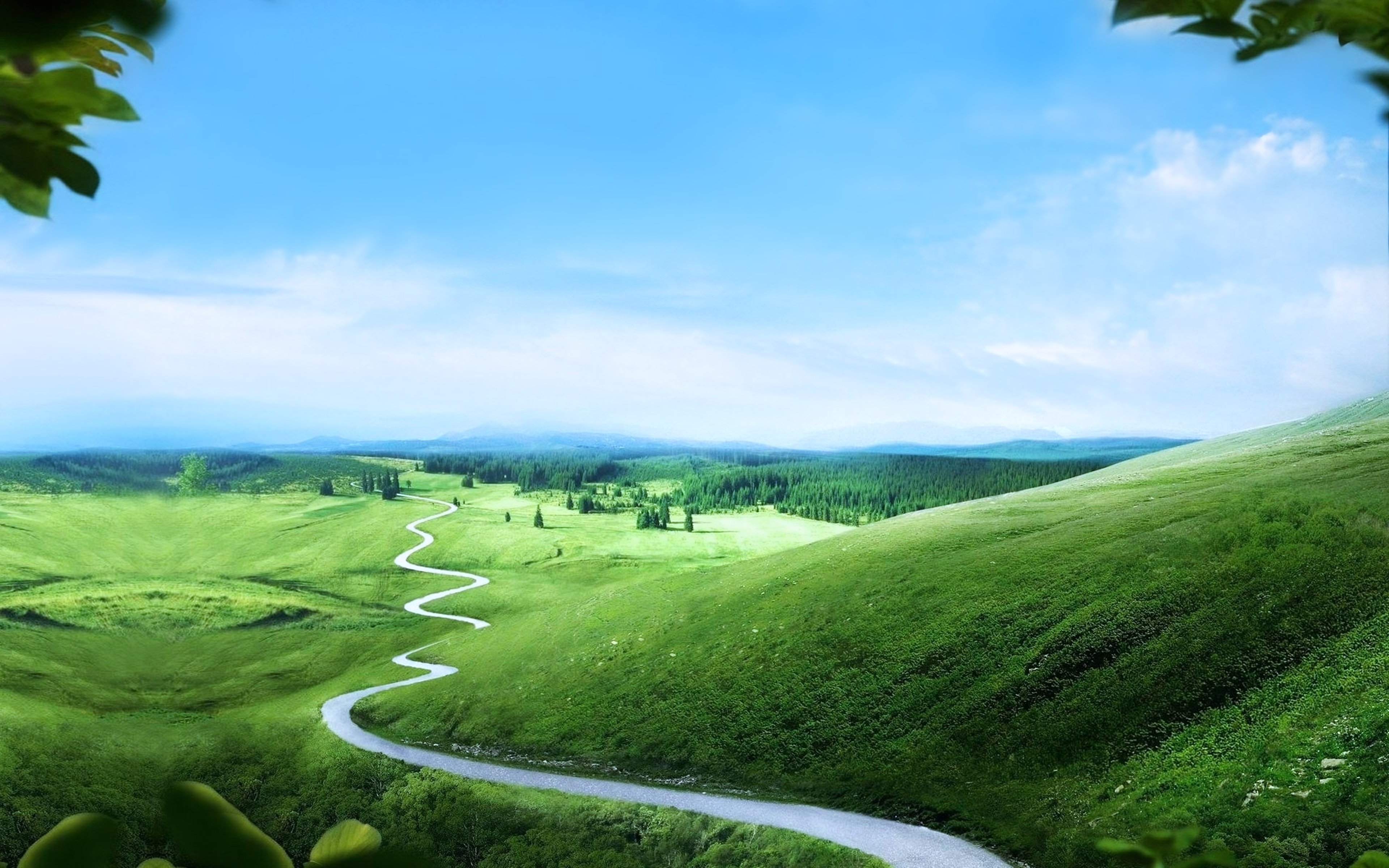 green landscapes hills road long way path trees nature earth sky clouds