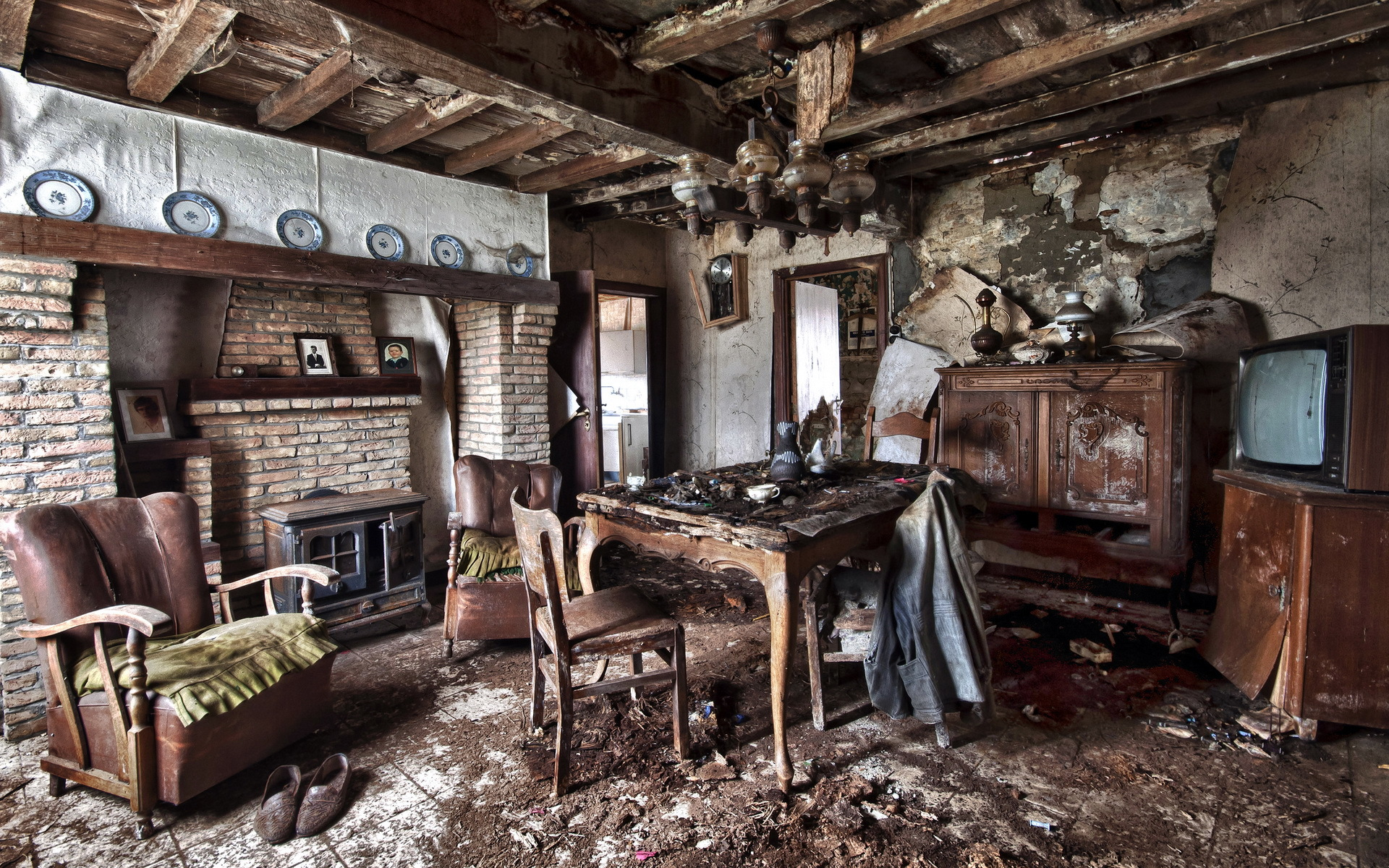 Interior Old Table Armchair Room design ruins apocalyptic      f