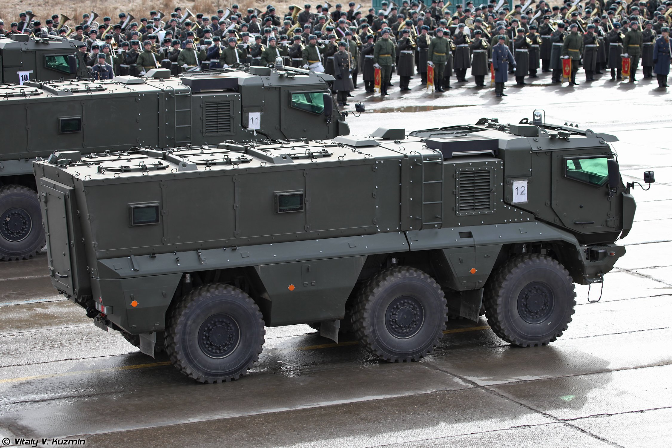 KAMAZ-63968 Typhoon-K MRAP vehicle armored truck April 9th rehearsal in Alabino of 2014 Victory Day Parade Russia military army russian