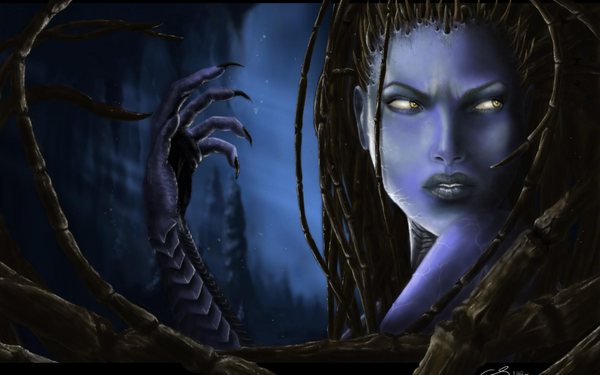 Kerrigan StarCraft 2 dark fantasy women female face eyes witch sci-fi cyborg