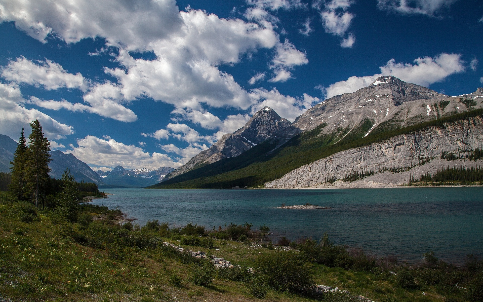 landscape mountain river sky clouds Old Goat Mountain Canada