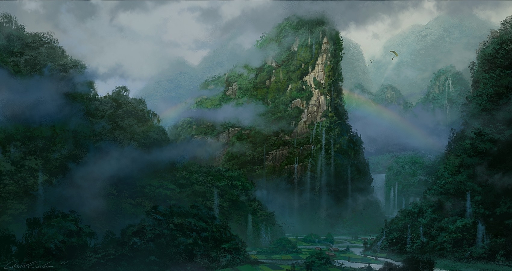 landscapes mountains rivers trees forest jungle clouds fog mist
