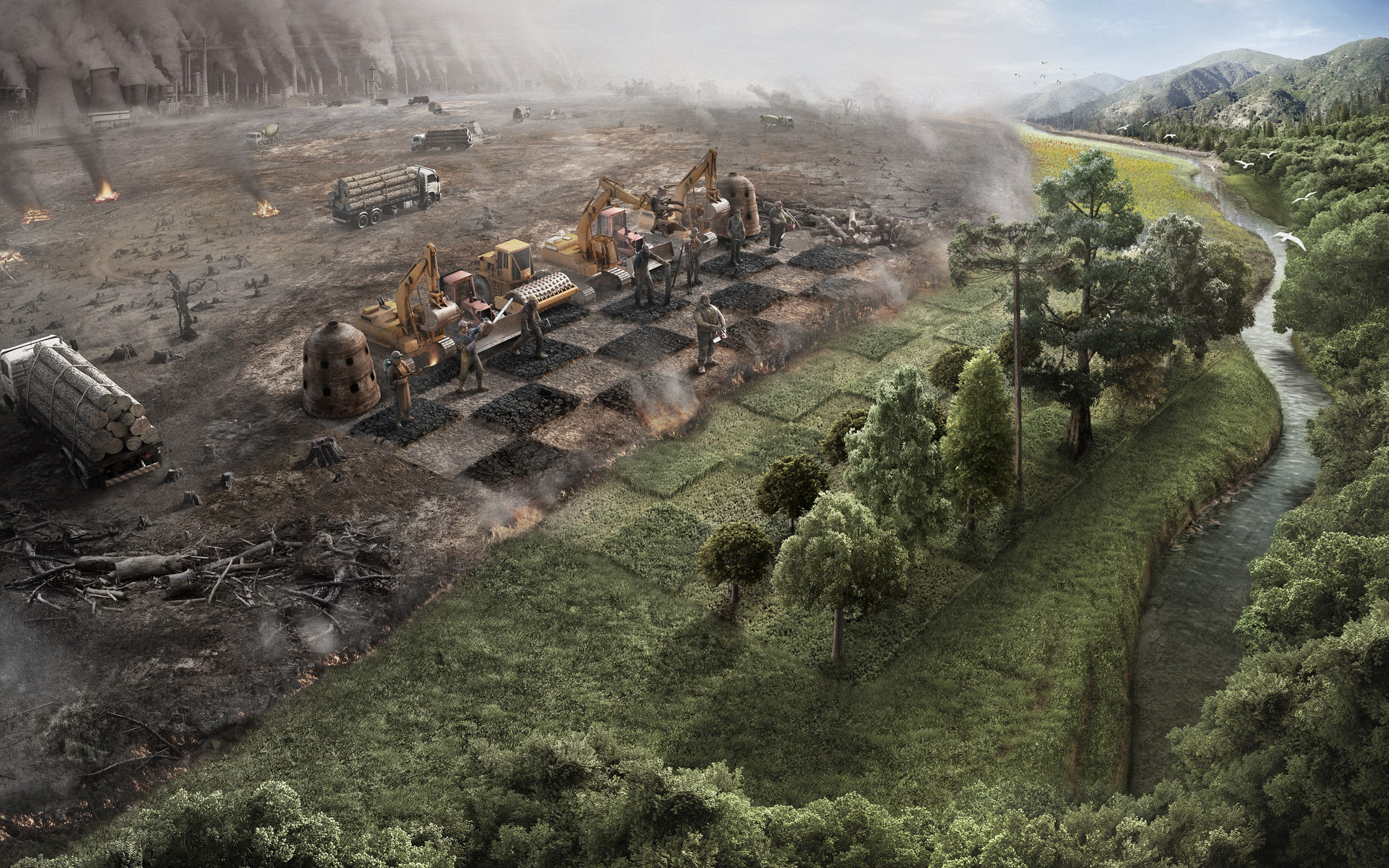 Landscapes nature trees chess earth surrealism human surreal artwork industrial plants rivers environment