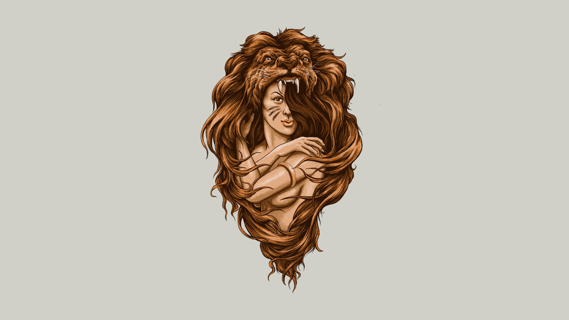 Lion Brunette Abstract