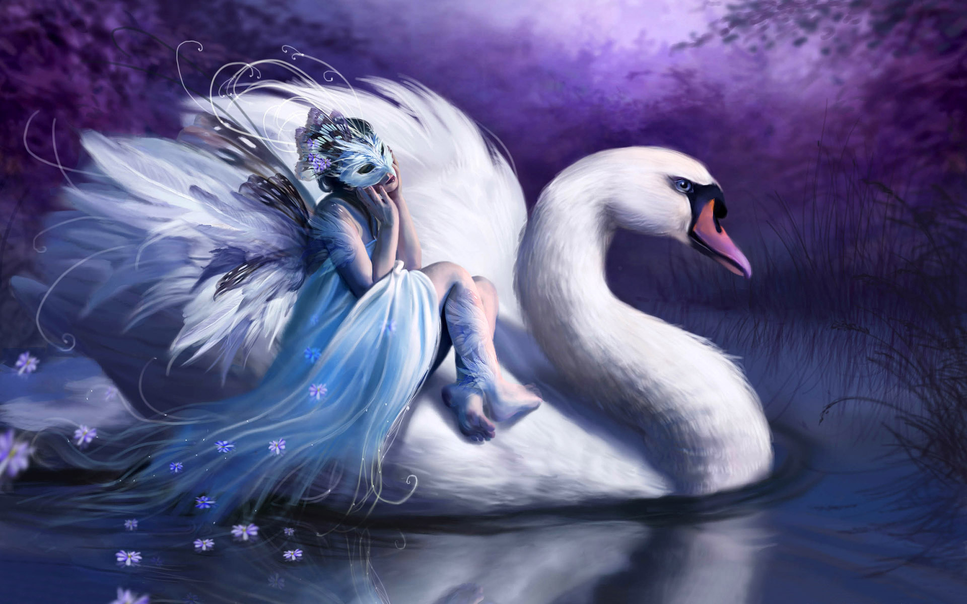 Masked girl on a swan