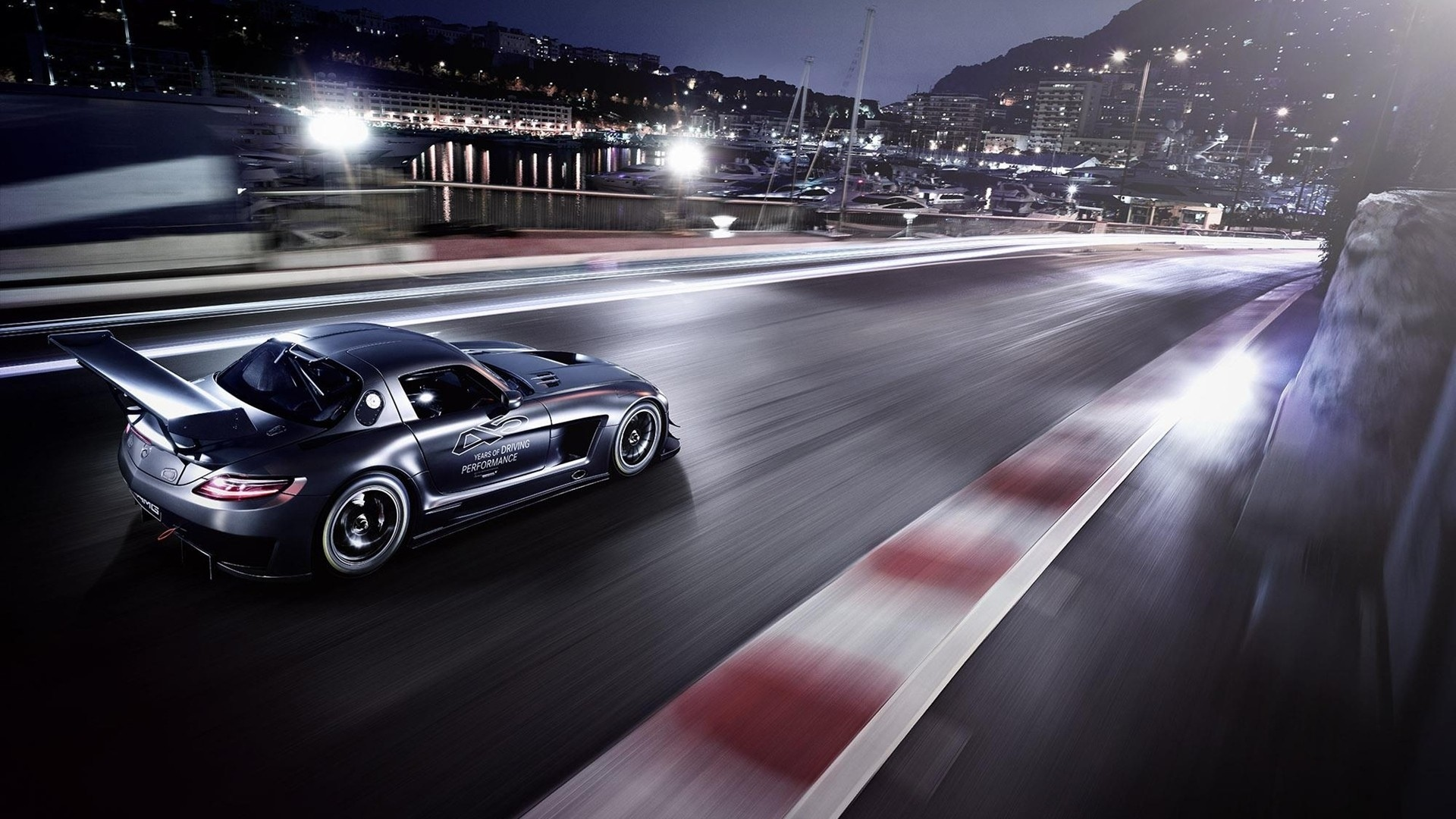 Mercedes Benz SLS AMG racing track race cars tuning crowd