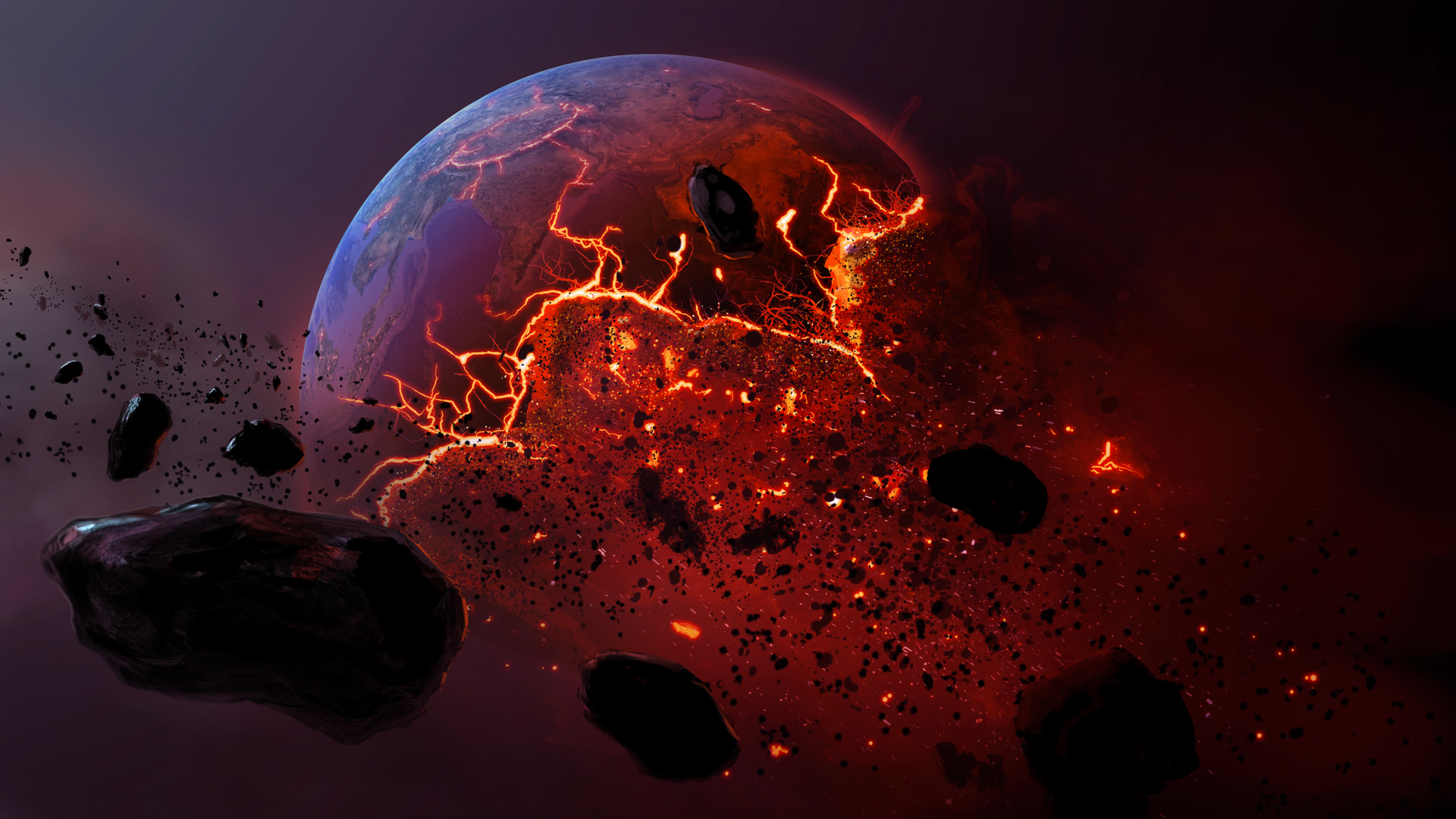 meteor burning earth planet apocalyptic      h