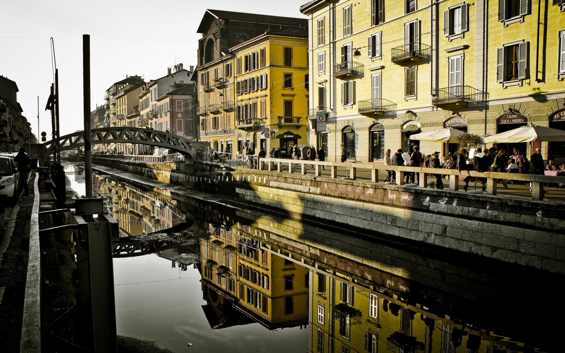 milan italy canal architecture buildings