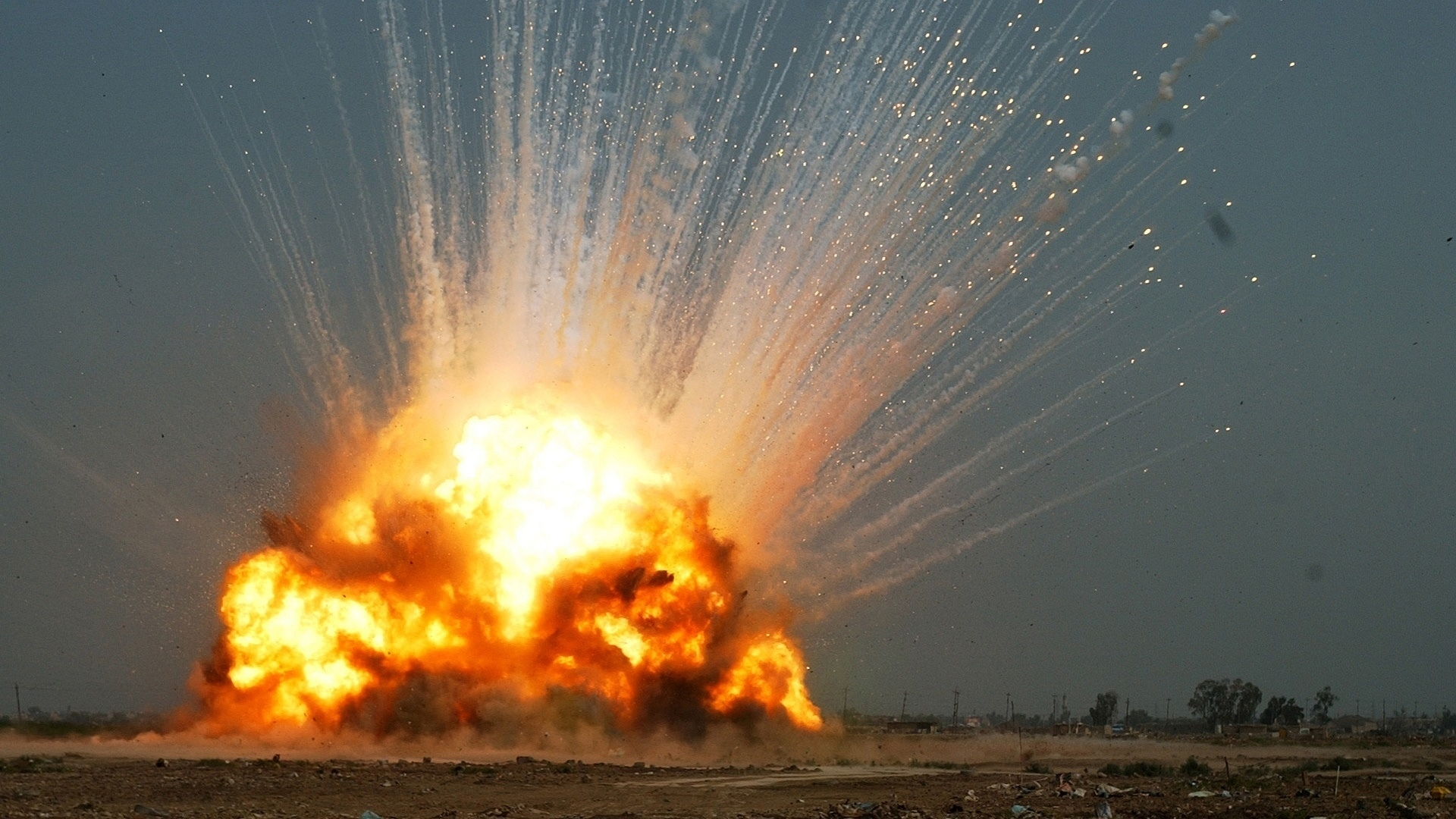 military explosion fire bomb dark landscapes
