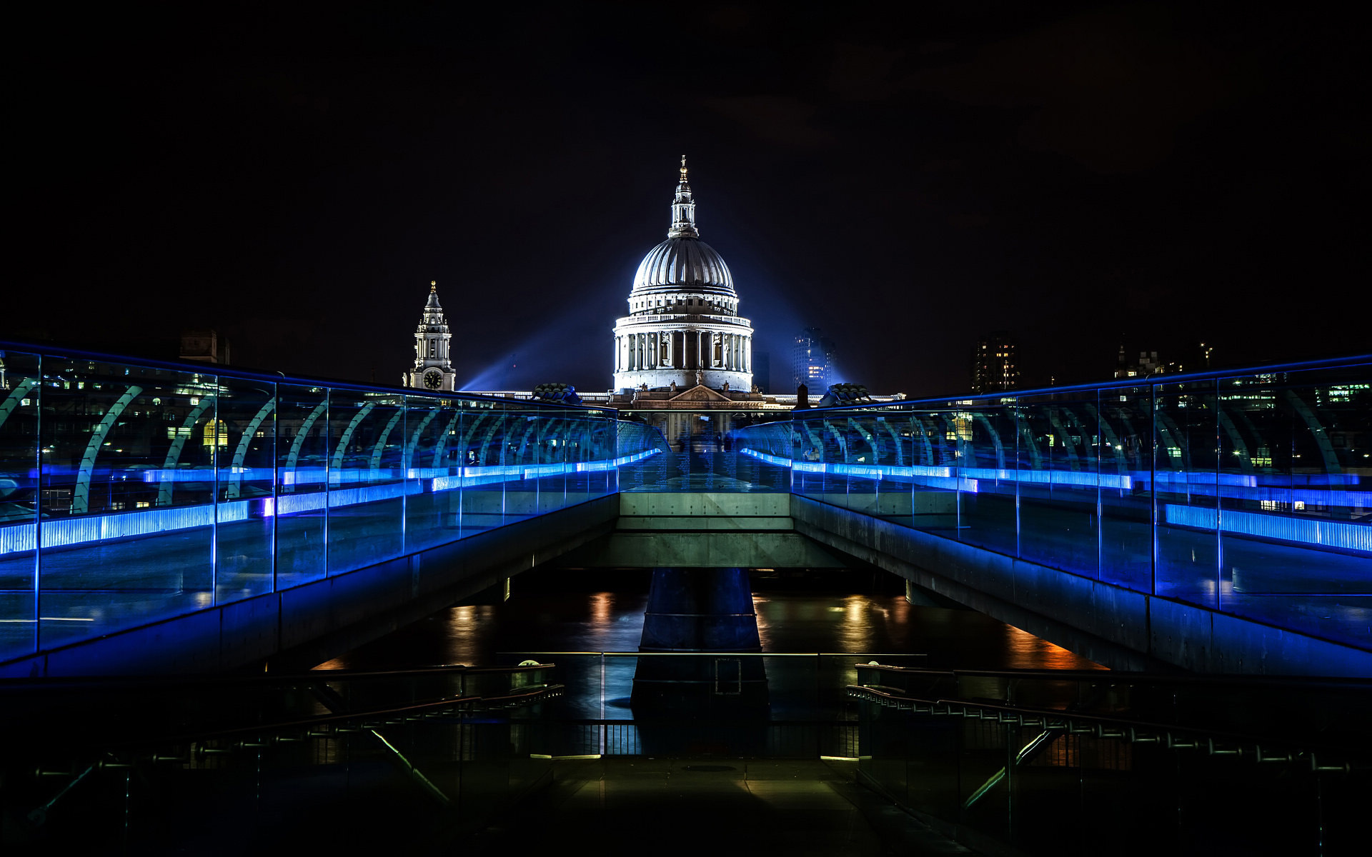 millenium bridge bridge england thames night