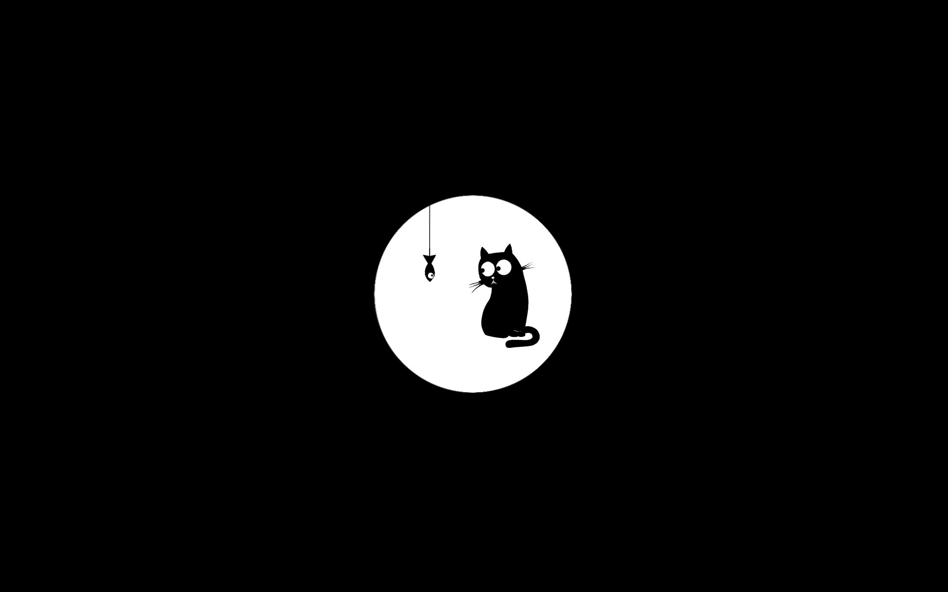 Minimalistic monochrome black background cats (drawn)