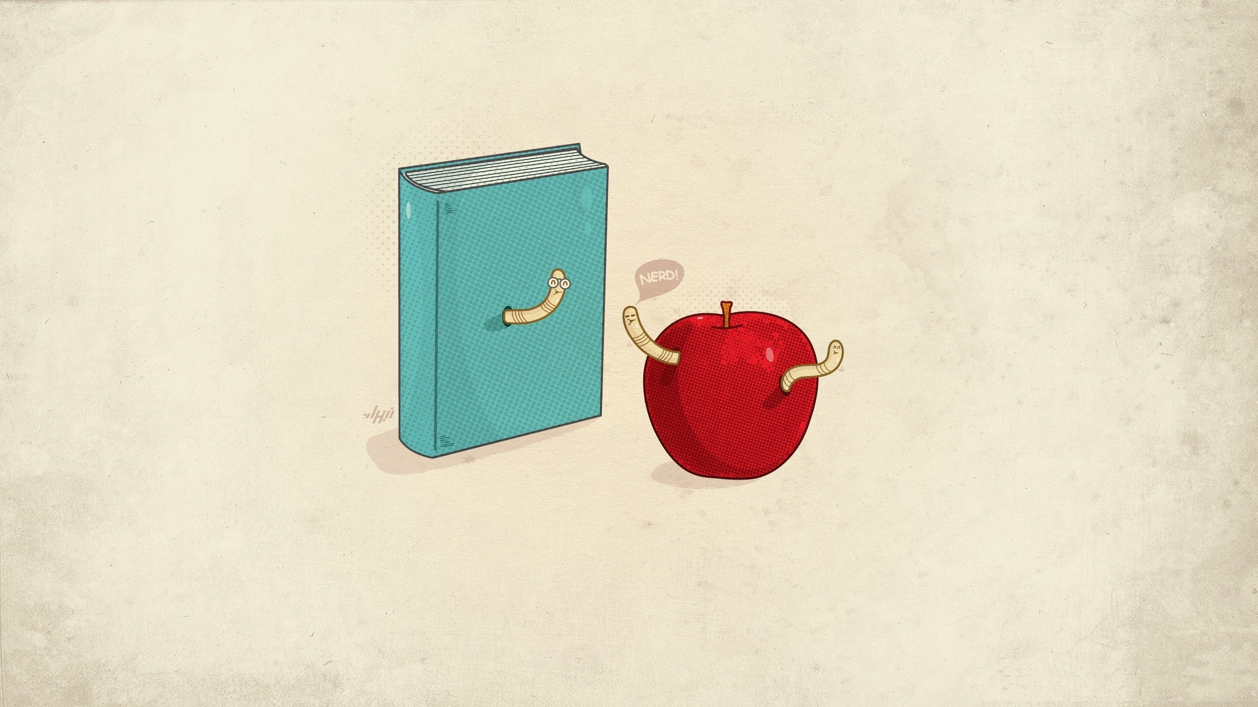 minimalistic nerd funny books apples simple background worms
