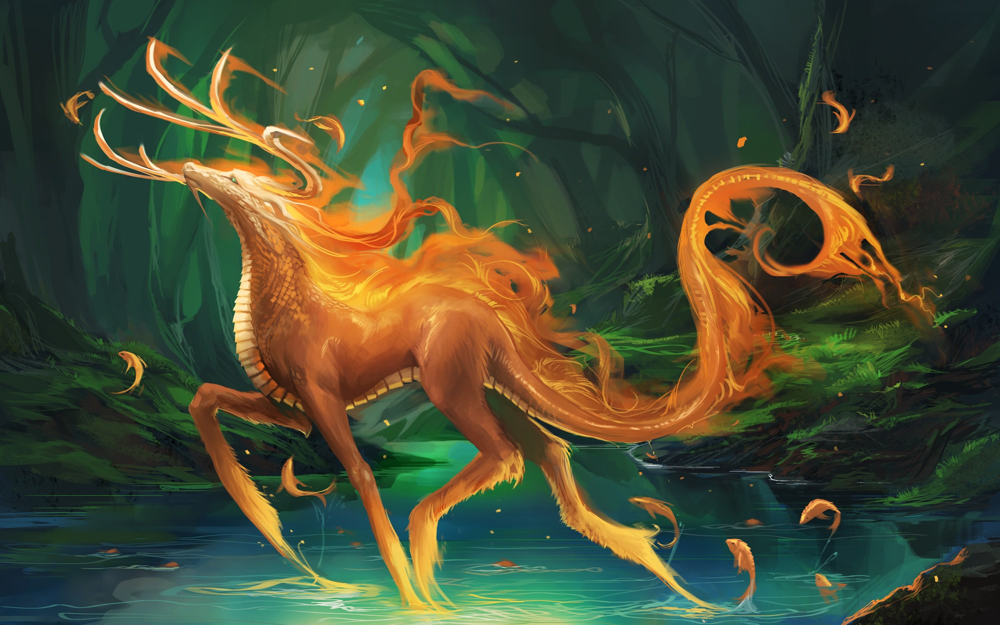 Monsters forest fantasy art creatures lakes