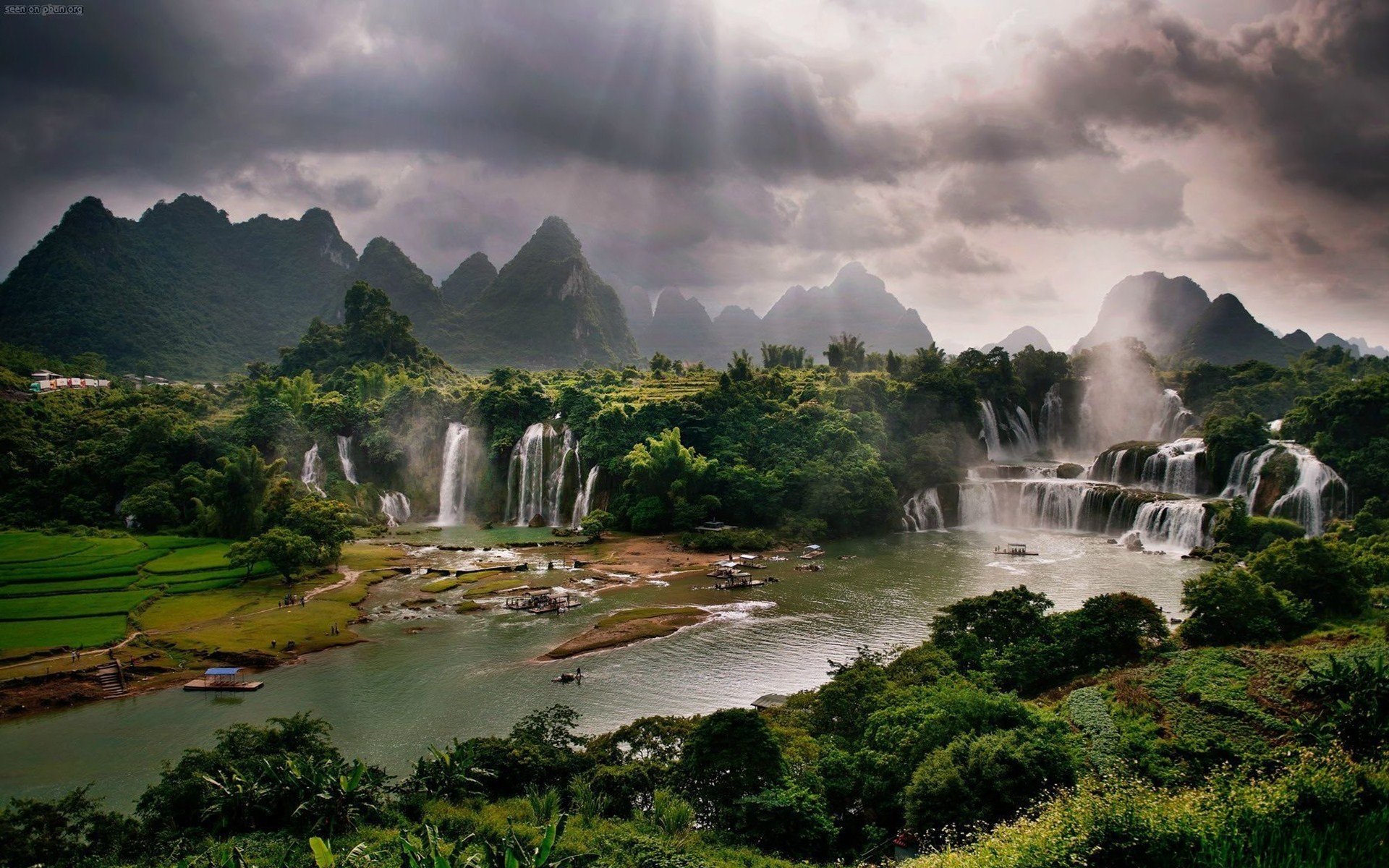 mountains waterfalls people nature clouds