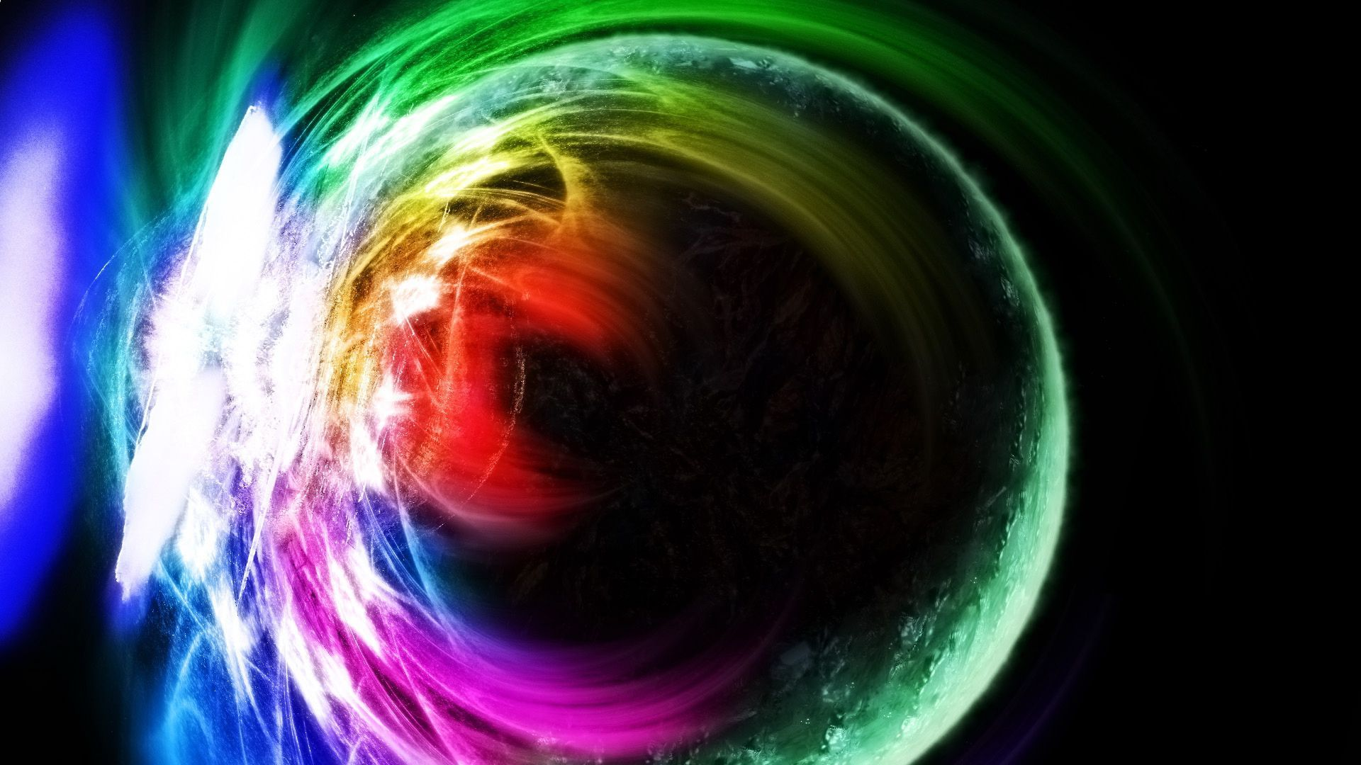 Multicolored light burst behind the planet