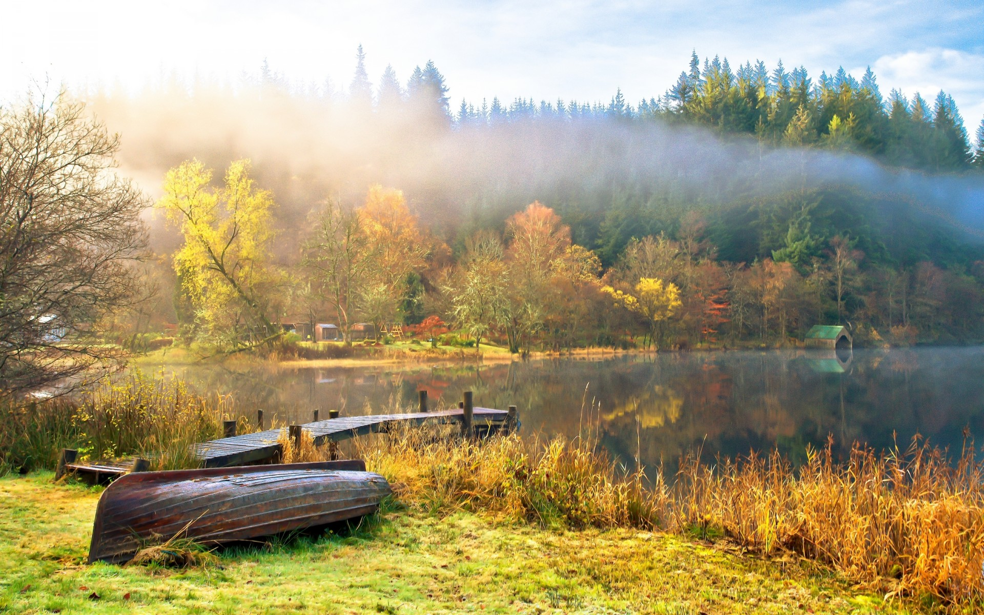 nature landscape sky clouds lake water boats trees autumn fog reflection fall