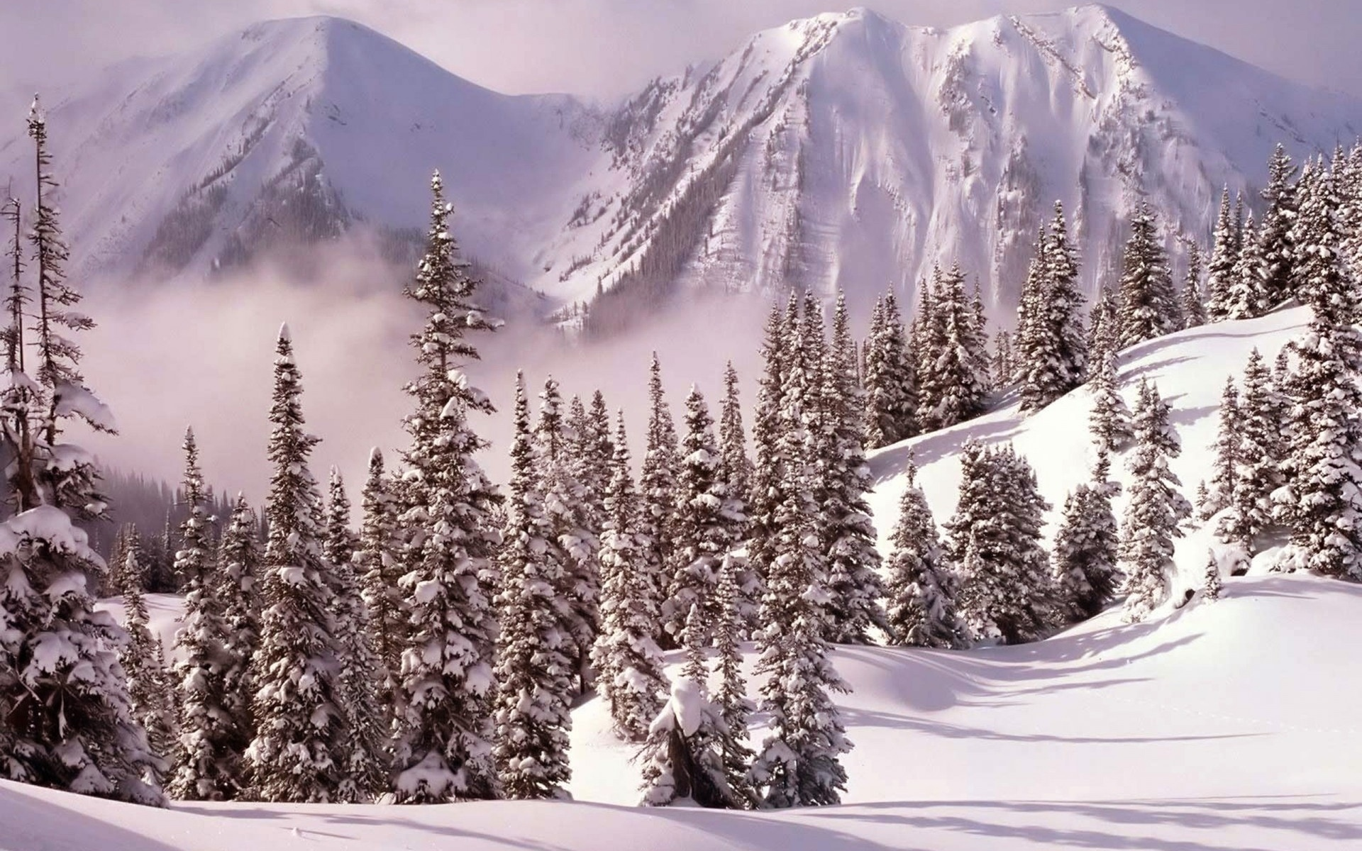 nature landscapes mountains winter snow seasons sky clouds cold trees sunlight fog mist haze scenic architecture buildings stone rock houses roof