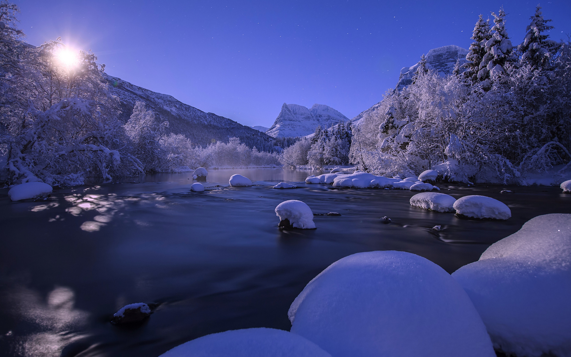 nature landscapes river streams mountains night moonlight moon sky winter snow seasons trees forest