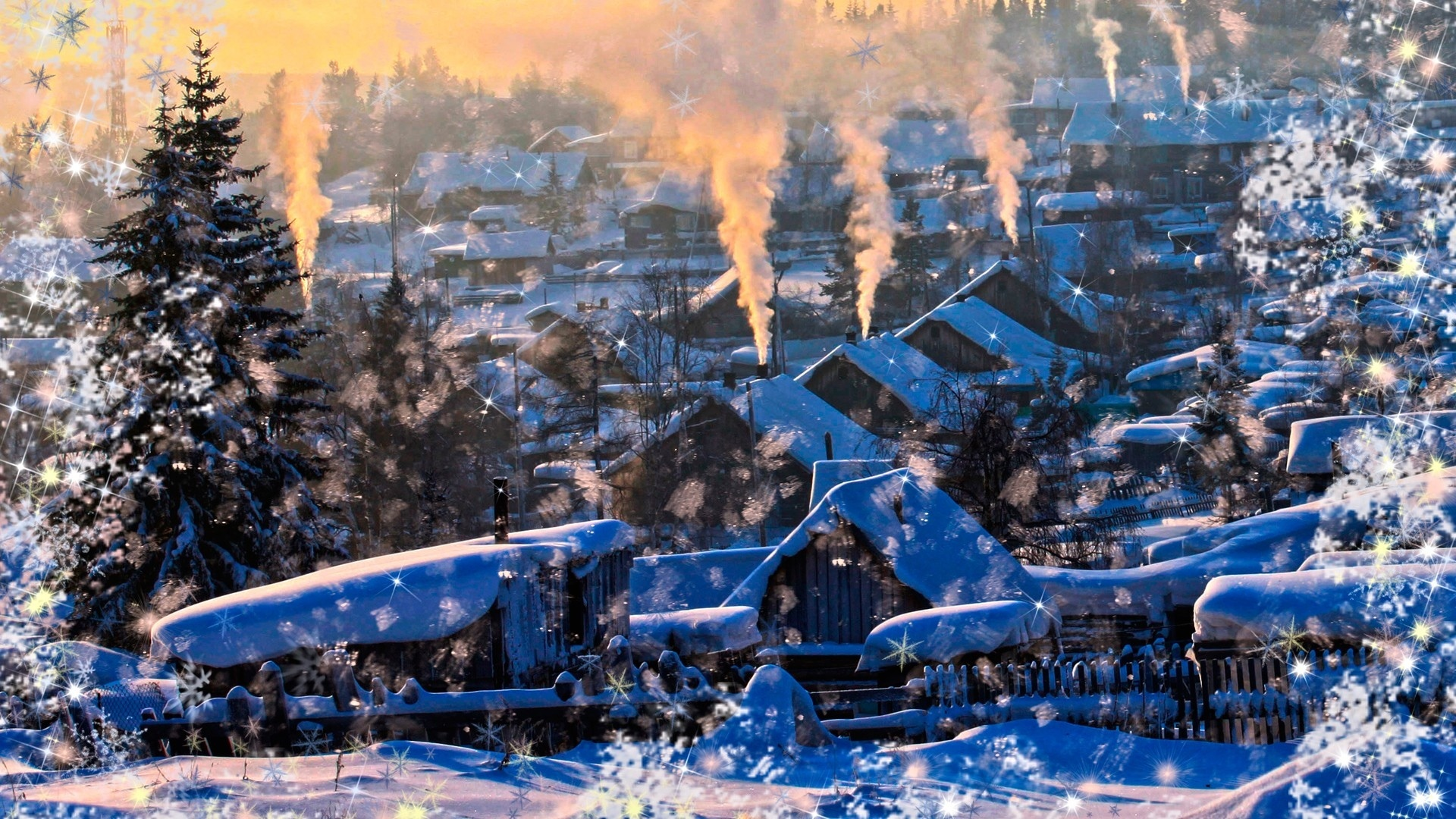 nature landscapes winter snow snowing flakes drops art artistic manipulation seasons trees architecture buildings house smoke sunset sunrise cozy christmas
