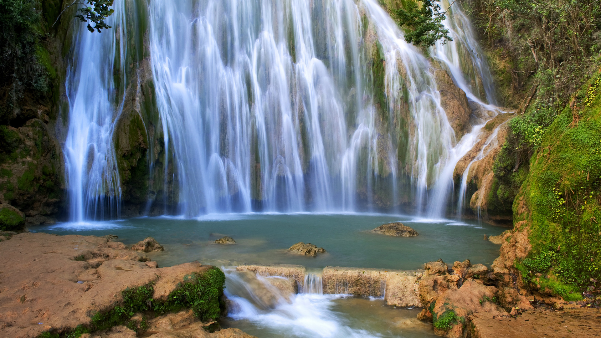 nature waterfall landscapes rivers pool spray drops timelapse lapse stop trees forest jungle