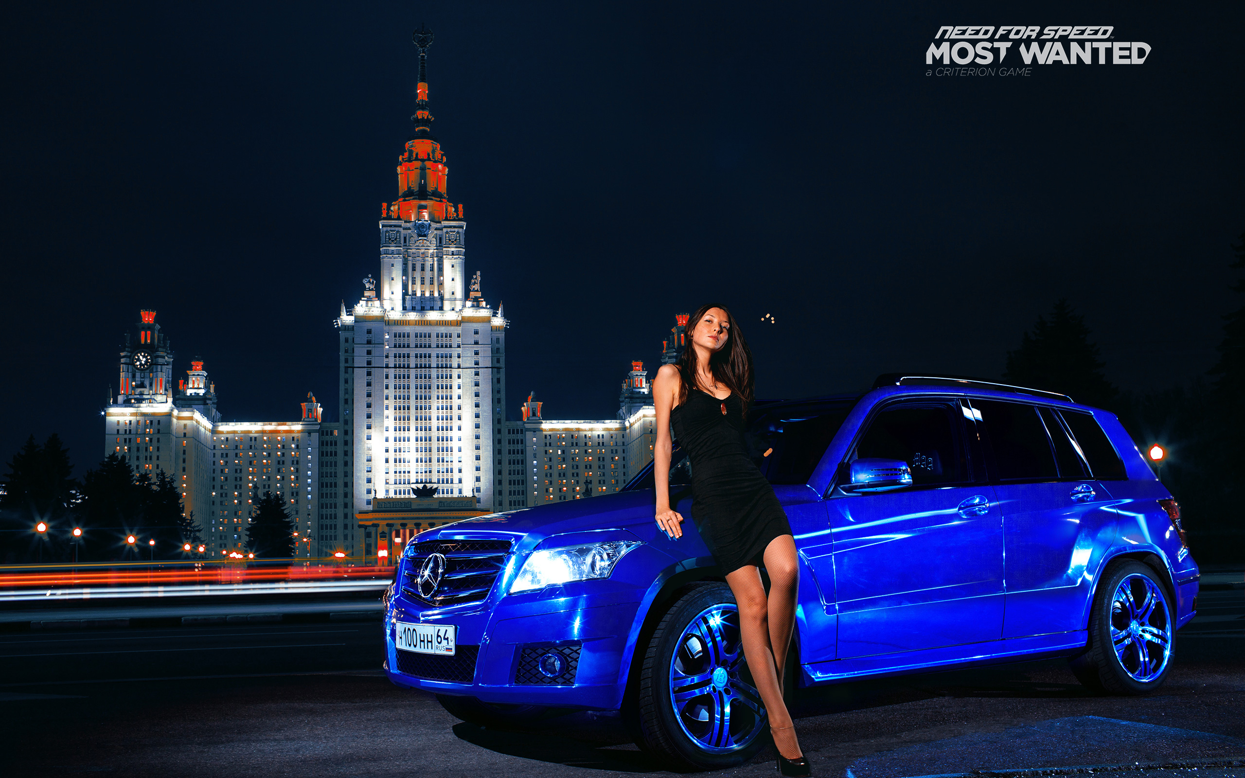 need for speed Mercedes Benz Russia Moscow GLK Blue Cars Girls