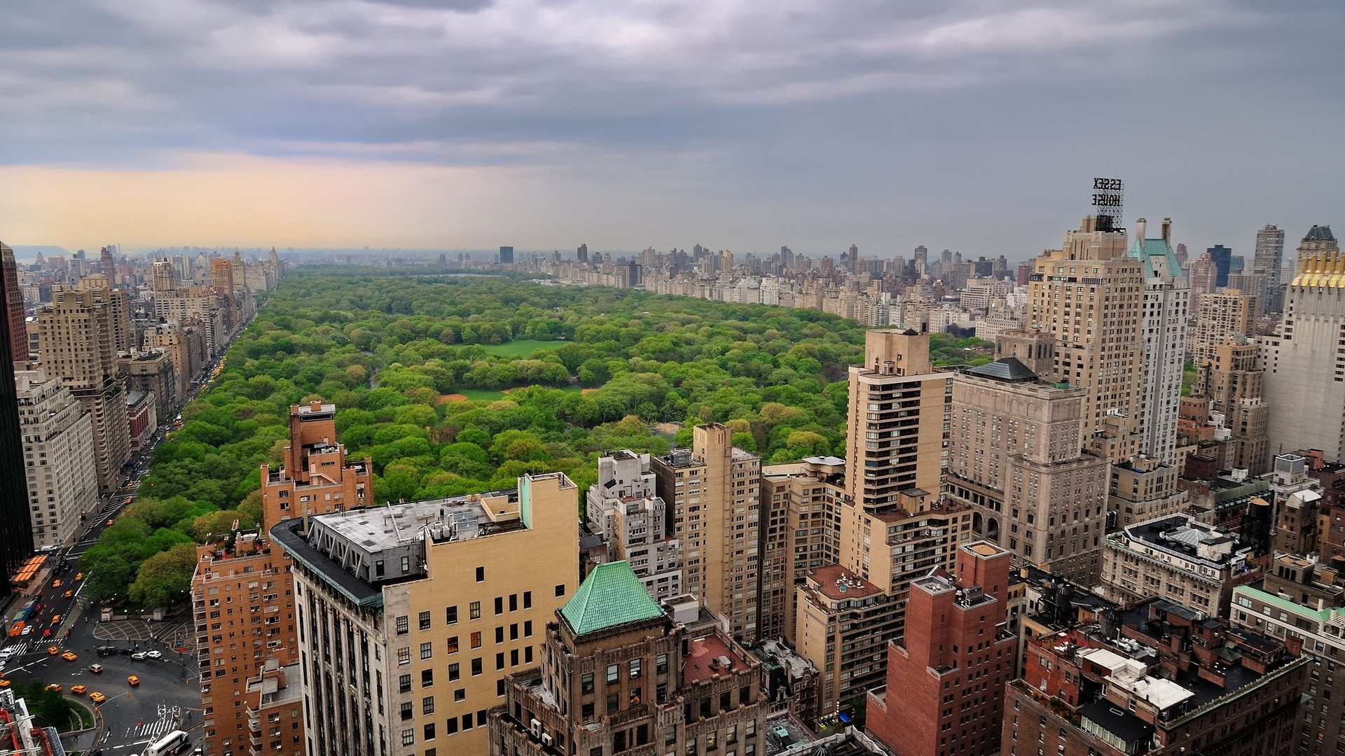 New York world architecture buildings skyscrapers park trees forest urban sky clouds scenic