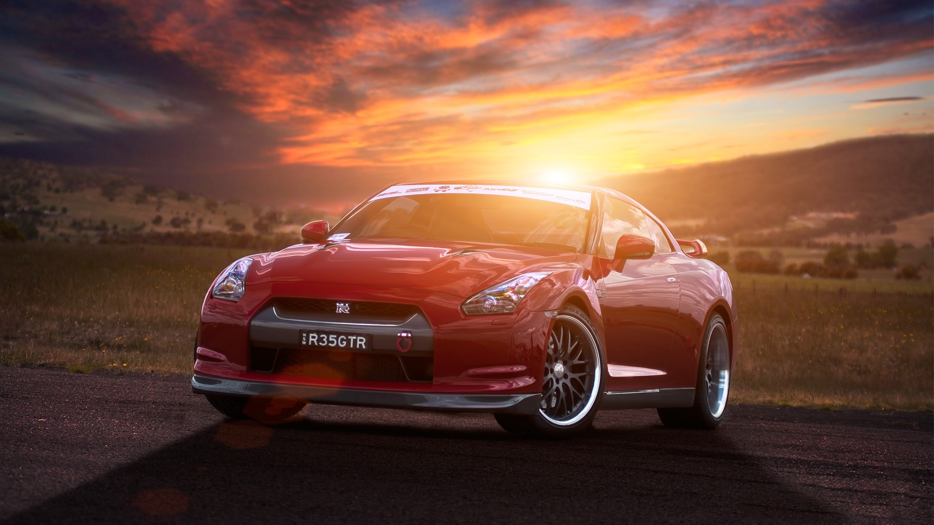 Nissan GT-R in the sunset