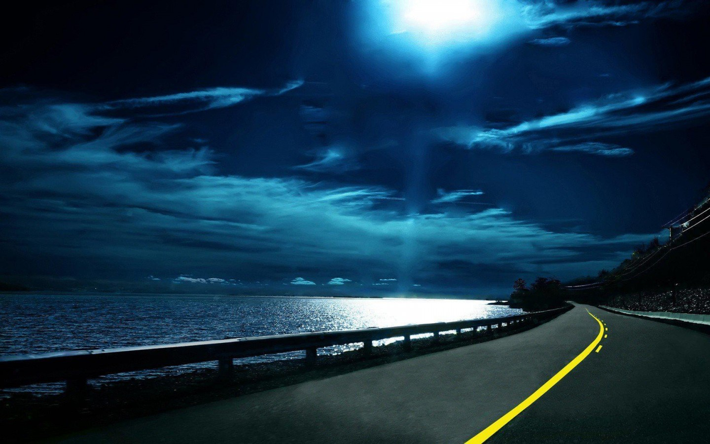 ocean clouds night Moon roads