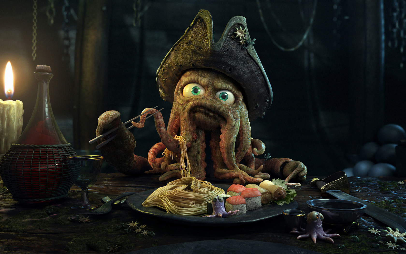 Octopus pirate at dinner