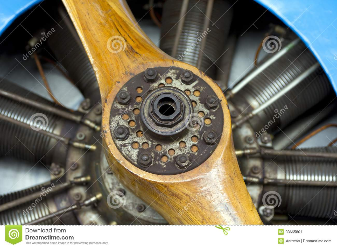 Old Aircraft Propeller Engine Close-Up Photo