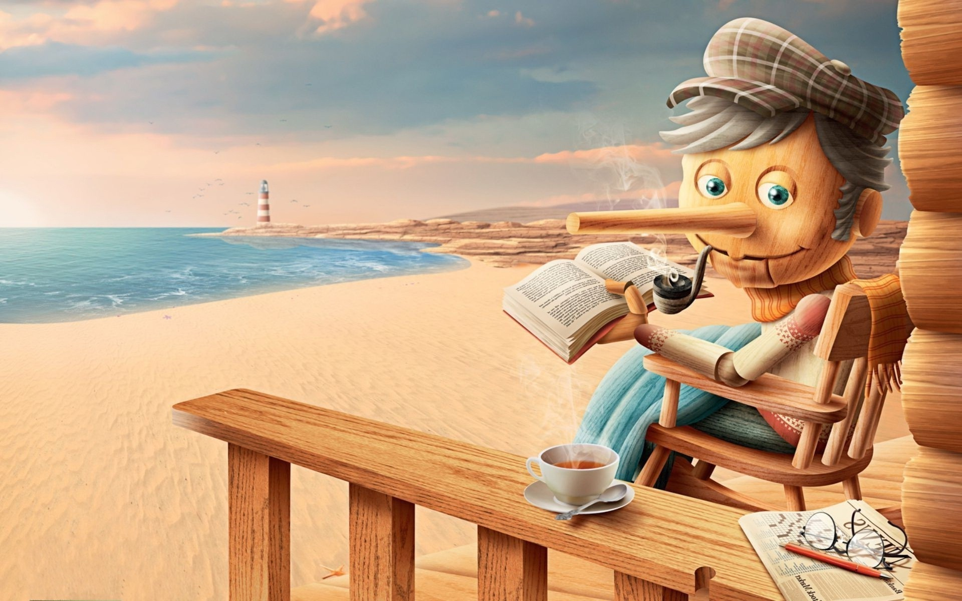 Old Pinocchio on the beach