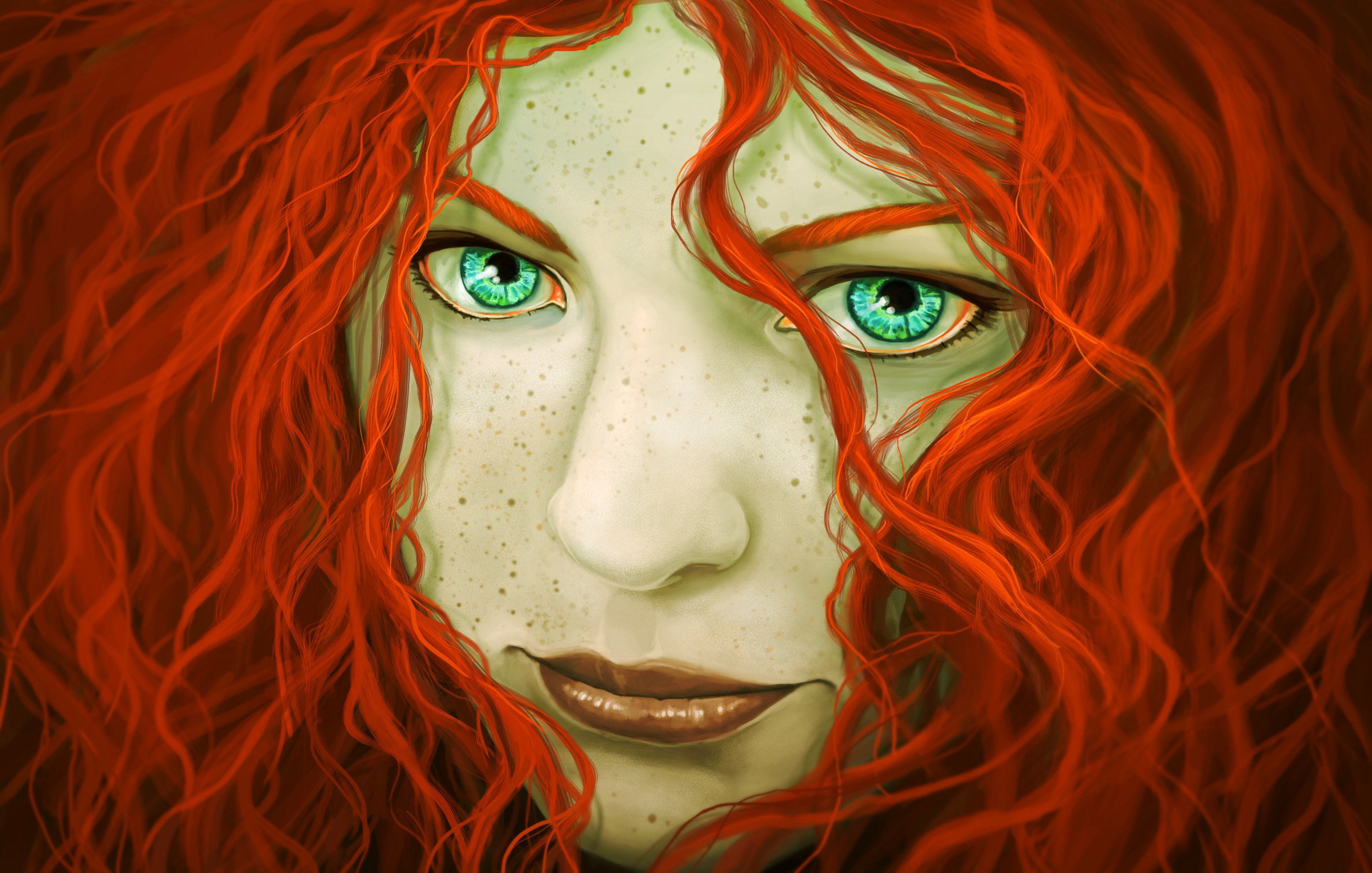 Painting Art Eyes Redhead girl Face Hair Fantasy Girls