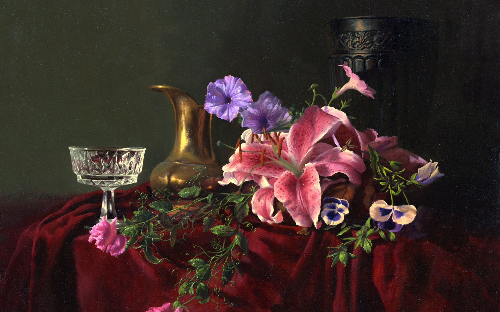 painting still life Alexei Antonov flowers jar glass crystal vase lilies