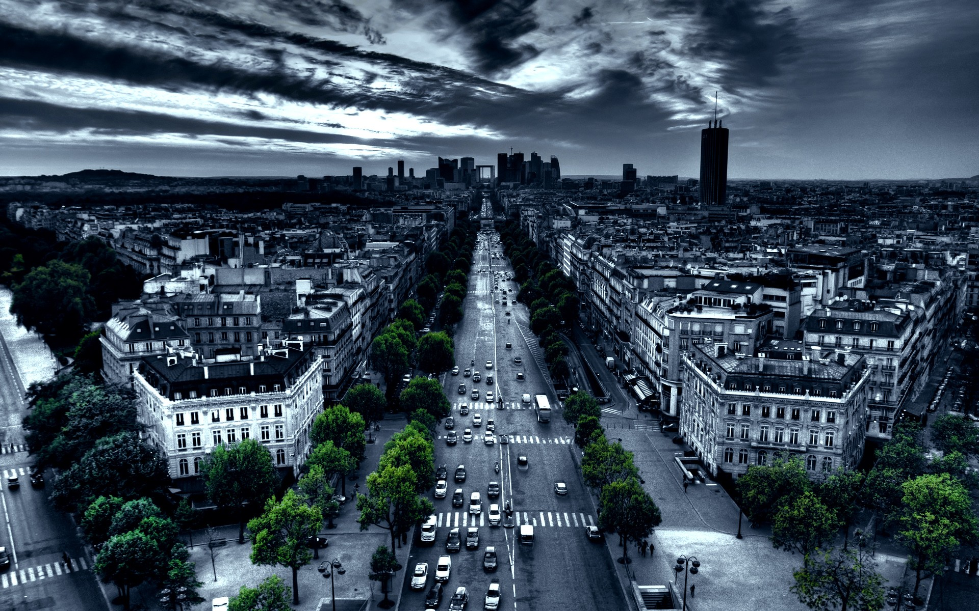 Paris cityscapes france traffic artwork selective coloring
