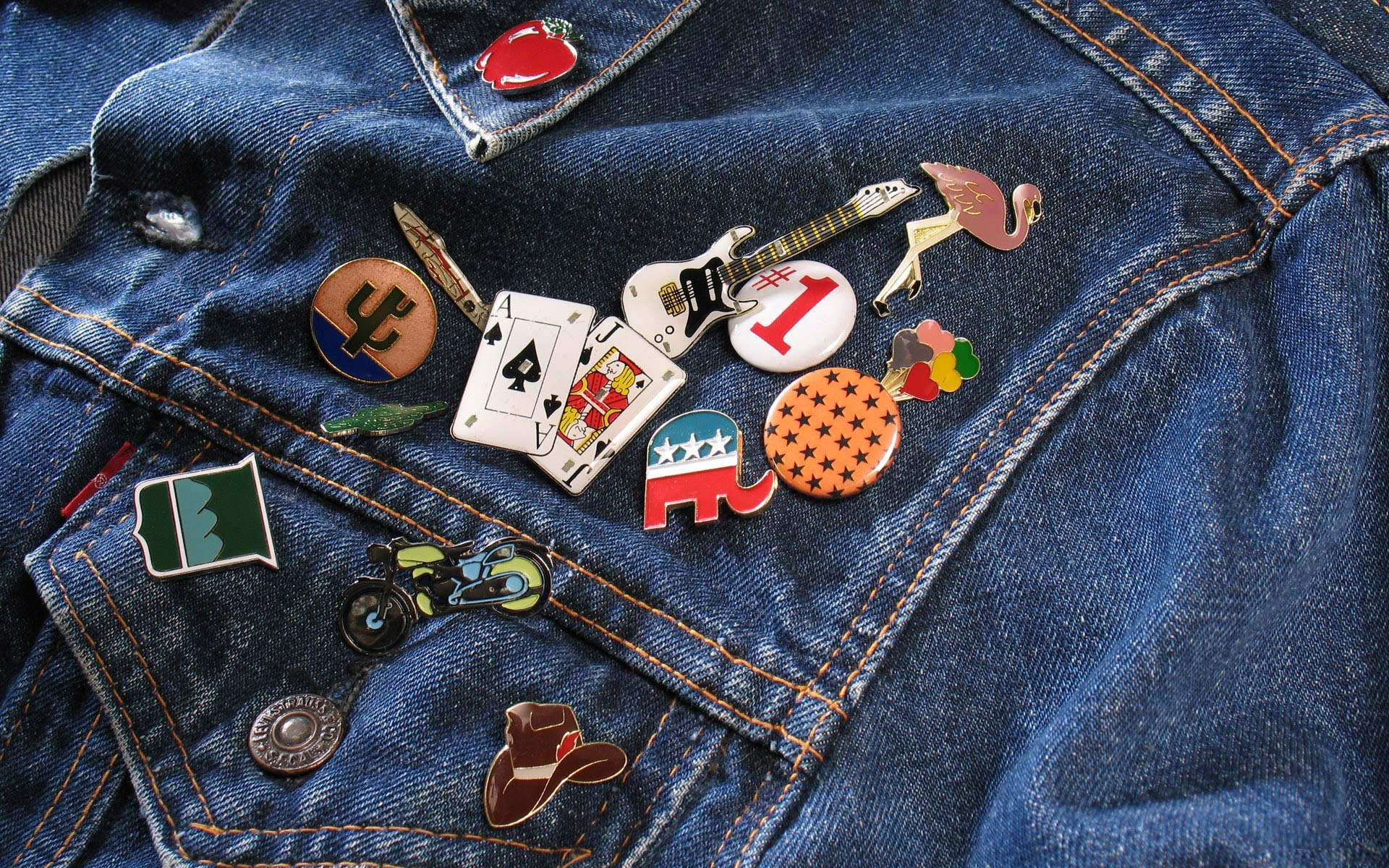 Pins on jeans